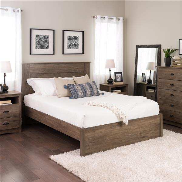 Prepac Select 4-Post Platform Bed - Drifted Gray - Queen