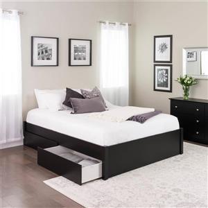 Base de grand lit plateforme avec deux tiroirs, noir