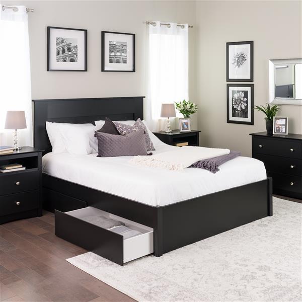 Prepac Select 4-Post Platform Bed 4 Drawers - Black - Queen