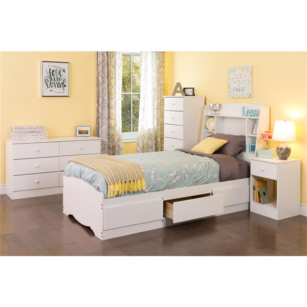 Prepac Astrid Tall Chest - 6-Drawer - White - 52-in x 20-in
