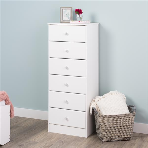 Prepac Astrid Tall Chest with Acrylic Knobs - 6-Drawer - White