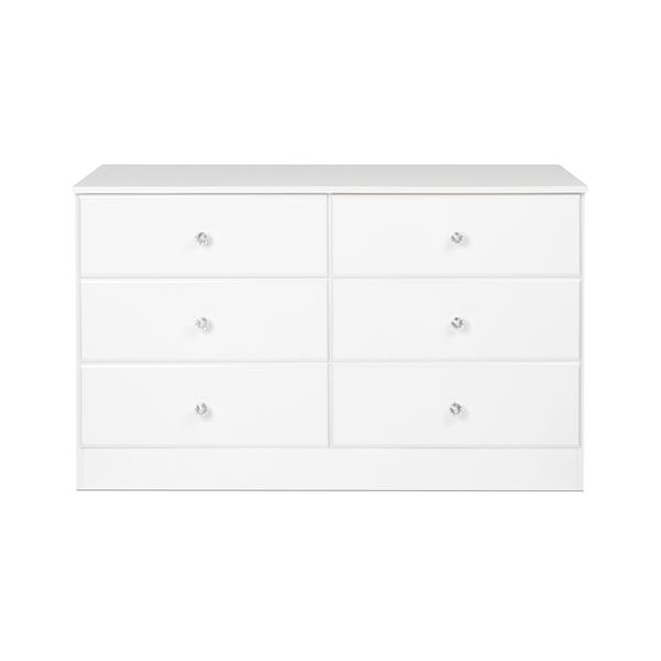 Prepac Astrid Dresser with Acrylic Knobs 6-Drawer - White - 28-in x 47-in
