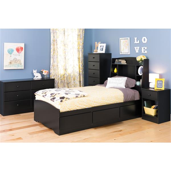 Prepac Astrid Dresser with 6-Drawer - Black - 28-in x 47-in