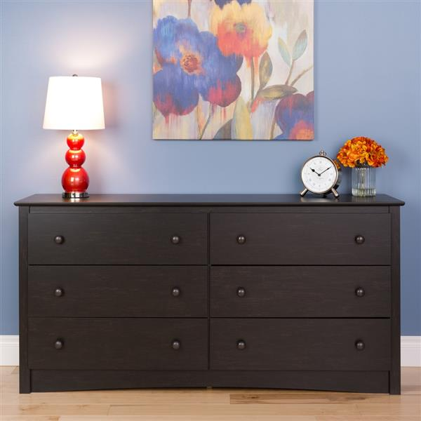 Prepac Sonoma Chest. Washed 6-Drawer - Black - 29-in x 59-in