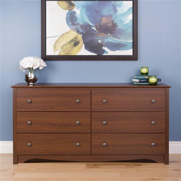 Prepac Monterey 6-Drawer Dresser - Cherry - 29-in x 59-in