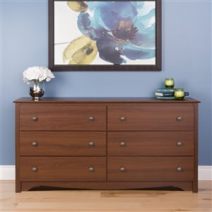 Prepac Monterey 6-Drawer Dresser - Cherry - 29-in x 59-in