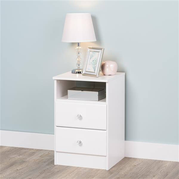 Prepac Astrid Nightdstand with Acrylic Knobs - 2-Drawer - White