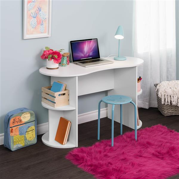 Prepac Kurv Compact Student Desk with Storage, White