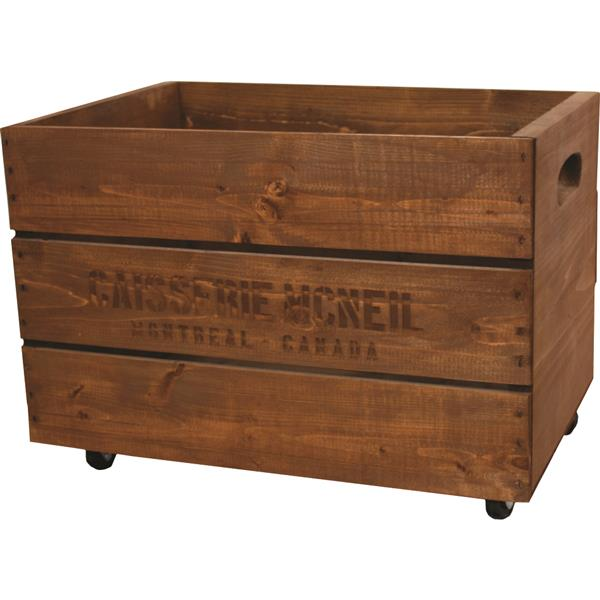 McNeil Wooden crate on wheels for Toys - Old Brown