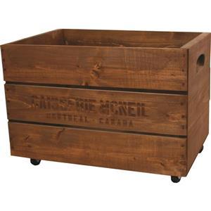 Caisse en bois décorative sur roulettes, brun vieilli