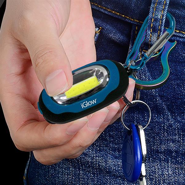 """iGlow COB Keychain Light - 5.5""""x 1.6"""" - Blue - 2 pcs"""