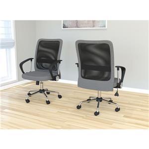 Chaise de bureau en microfibre multi position, gris et noir