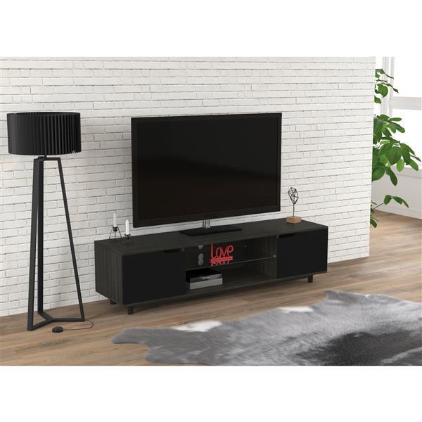 Safdie & Co. Tv Stand with 2 Side Doors & 2 Shelves, Grey Wood - 60-in