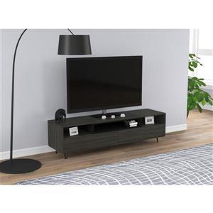 """Meuble audio-vidéo 2 tiroirs et 3 étagères, bois gris, 55""""L"""