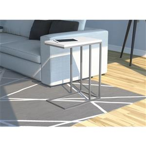 Safdie & Co. C-Shaped End Table - White and Silver Metal - 20-in x24-in