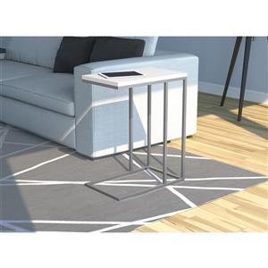 Table d'appoint en forme de C, blanche et métal argenté