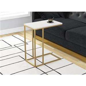 """Table d'appoint en forme de C, blanche et métal or, 20""""x24"""""""
