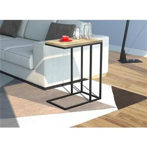 Table d'appoint forme de C en bois récupéré et métal noir