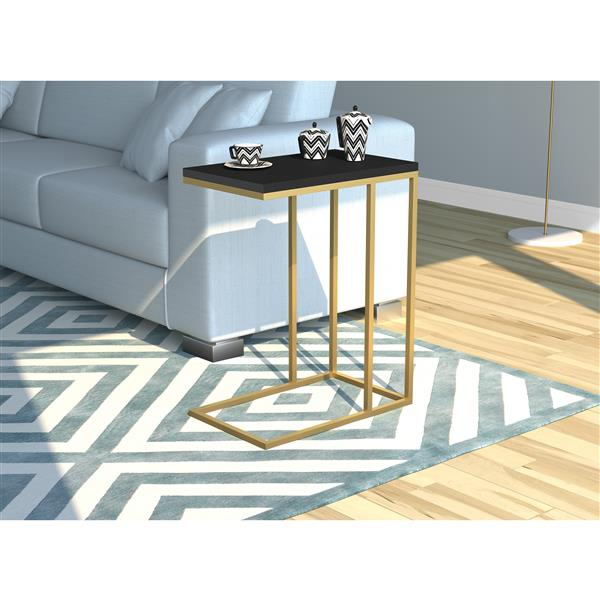 Safdie & Co. C-Shaped End Table - Black With Gold Metal - 20-in x24-in