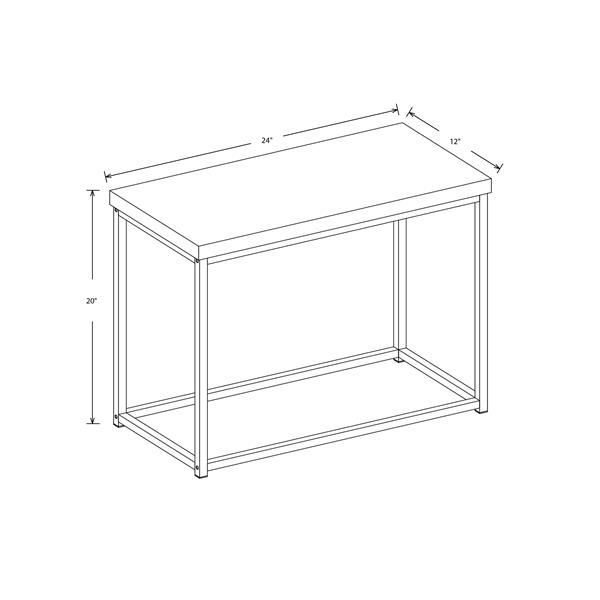 Safdie & Co. Rectangular End Table - Dark Taupe/Black Metal - 20-in x 24-in