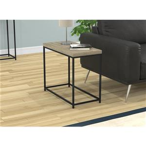 Safdie & Co. Rectangular End Table - Dark Taupe/Black Metal - 20-in x 24-in