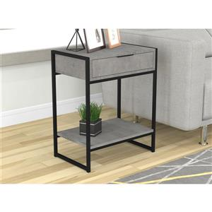 Safdie & Co. End Table 1 Drawer - Grey Cement and Black Metal