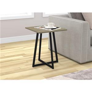 Table d'appoint carré, taupe foncé et métal noir