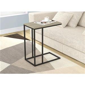 Table d'appoint en forme de C, taupe foncé et métal noir