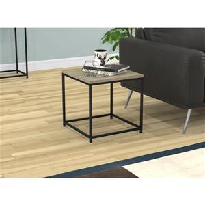 """Table d'appoint carré,  taupe foncé et métal noir, 16""""x16"""""""