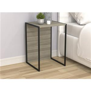 Table d'appoint double usage en bois, gris et métal noir