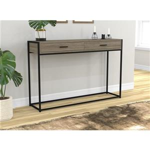 Safdie & Co. Console Table 2 Drawers  - Dark Taupe & Black Metal - 48-in L