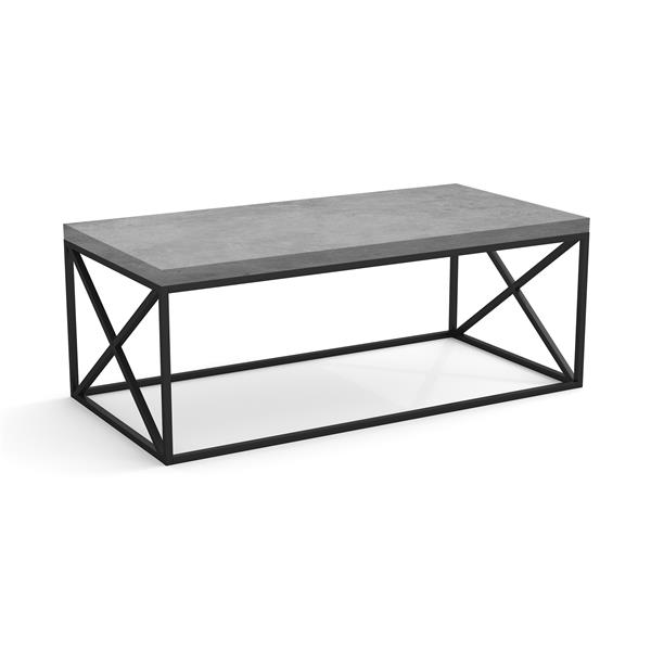Safdie & Co. Coffee Table - Gray Cement With Black Metal - 44-in L