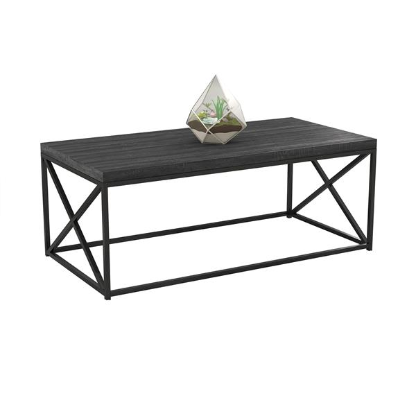 Safdie & Co. Coffee Table - Grey Wood With Black Metal - 44-in L