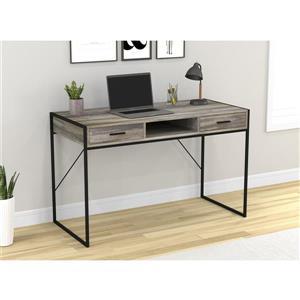 Bureau d'ordinateur avec tiroirs, bois vieilli /métal noir