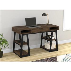 Safdie & Co. Computer Desk Drawers & Shelves - Walnut/Black Metal 47-in