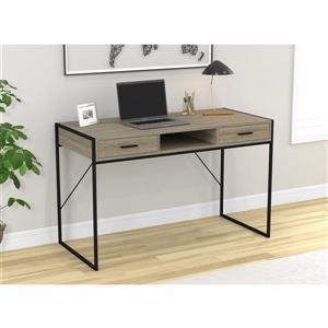 Bureau d'ordinateur avec tiroirs, bois gris et métal noir