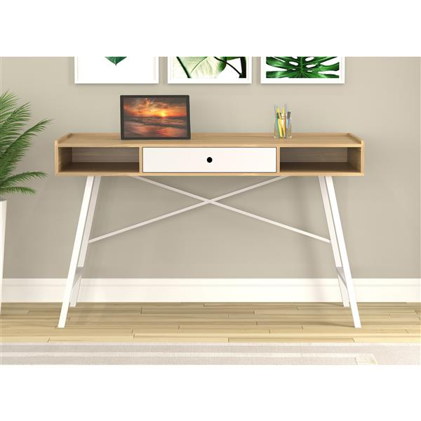 Safdie & Co. Computer Desk - Natural With White Drawers/White Metal 49-in