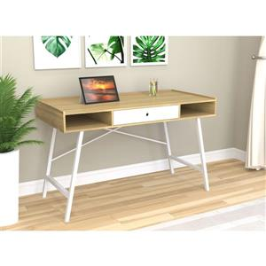 Bureau d'ordinateur, naturel et tiroirs Blanc/métal Blanc
