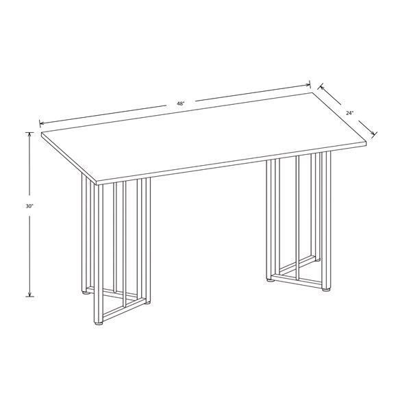 Safdie & Co. Computer Desk - Dark Taupe/Black Metal - 48-in