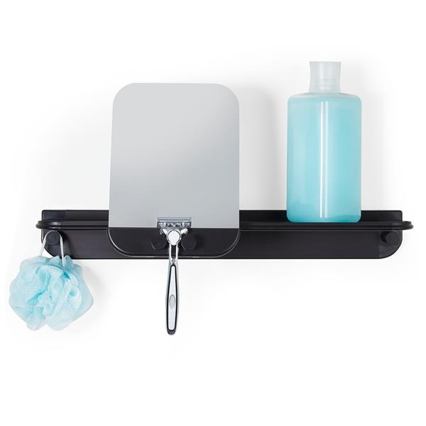 Better Living GLIDE Shower Shelf with Mirror - Black - 18-in