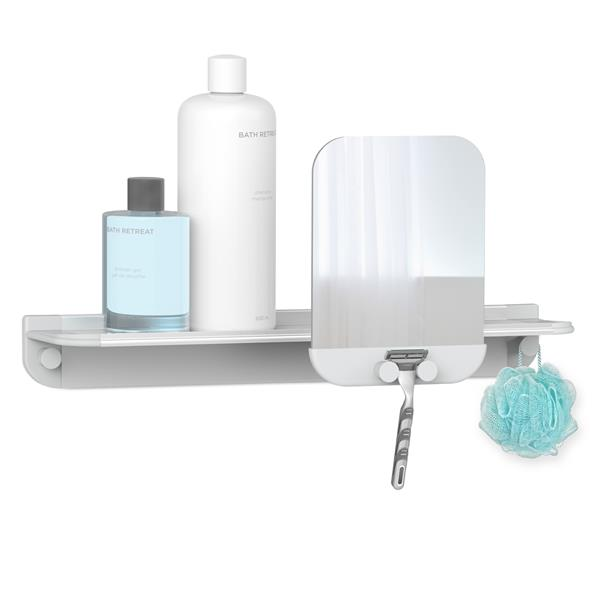 Better Living GLIDE Shower Shelf with Mirror - Grey - 18-in