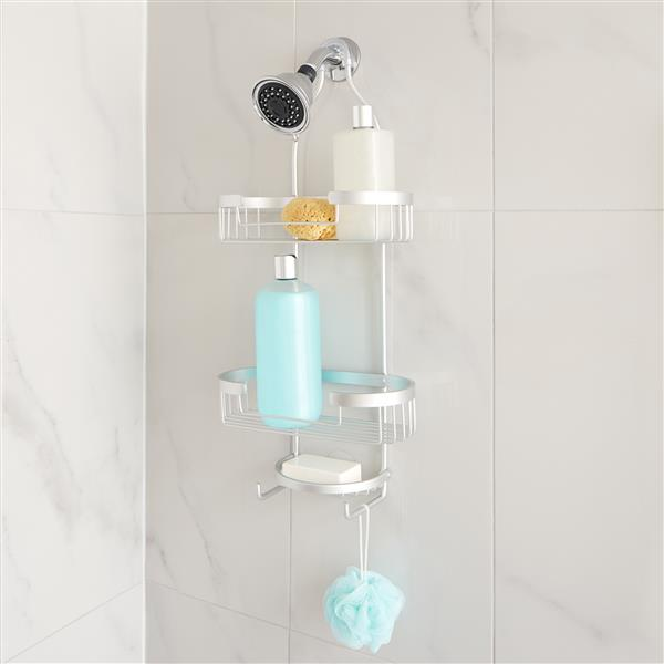 Better Living ARIES 3 Tier Shower Caddy - Silver - 11-in x 5.5-in x 24.75-in
