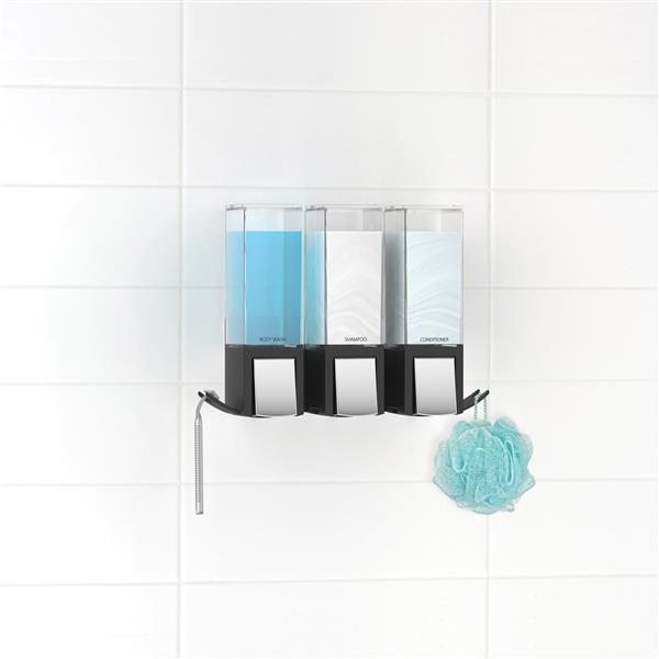 Distributeur de savon pour douche CLEVER, Noir, 3 x 480 ml