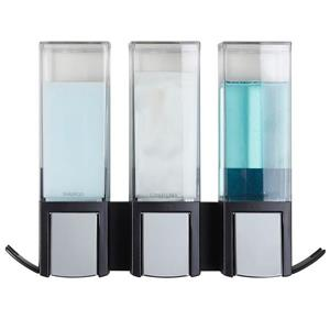 Better Living CLEVER Triple Shower Soap Dispenser - Black - 3 x 480 ml