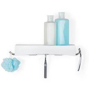 Better Living CLEVER Flip Shower Shelf - White - 14-in x 4-in x 2.5-in