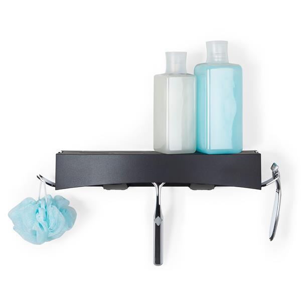 Better Living CLEVER Flip Shower Shelf - Black - 14-in x 4-in x 2.5-in