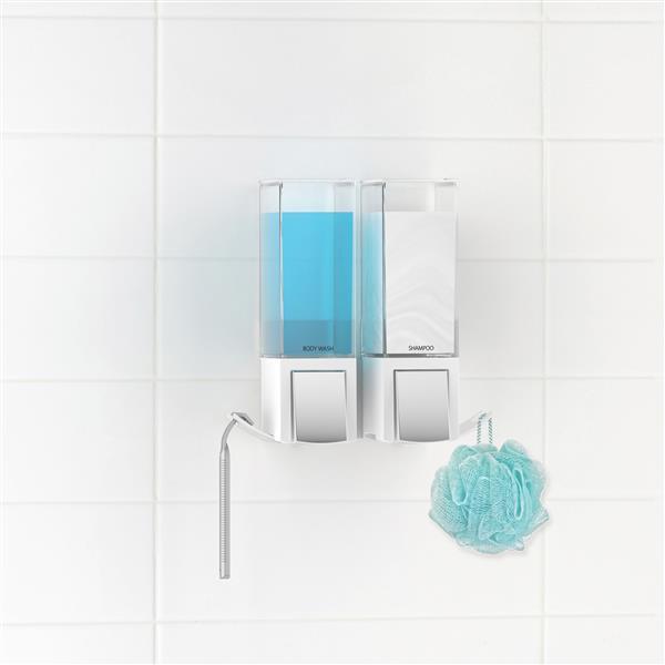 Better Living CLEVER Double Shower Soap Dispenser - White - 2 x 480 ml