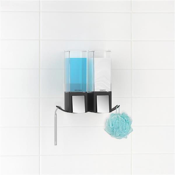 Distributeur de savon pour douche CLEVER, Noir, 2 x 480 ml