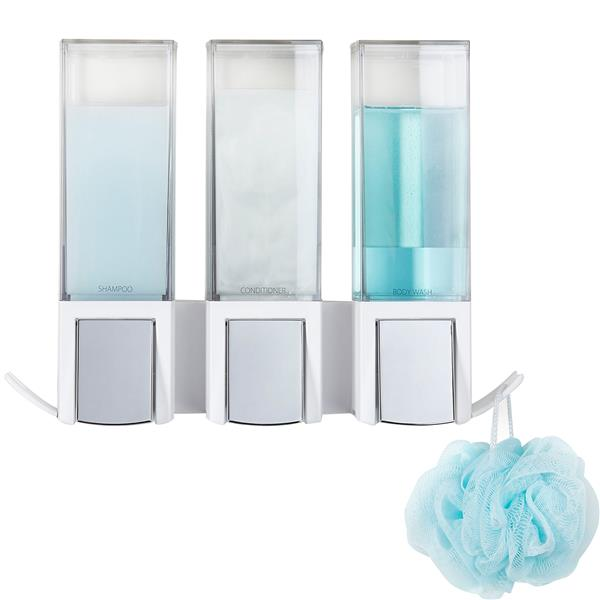 Better Living CLEVER Triple Shower Soap Dispenser - White - 3 x 480 ml