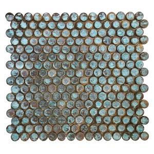 Tuile mosaïque murale, cuivre patiné, 12